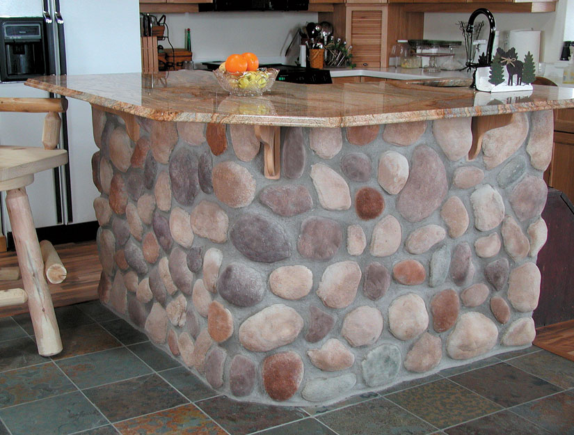 Northwoods river rock manufactured stone for walls - Chimeneas decorativas de pared ...